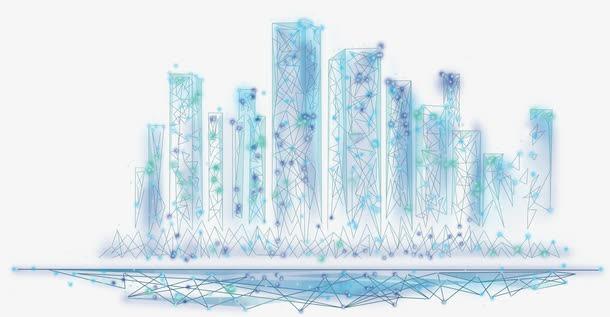 蓝色线条科技城市