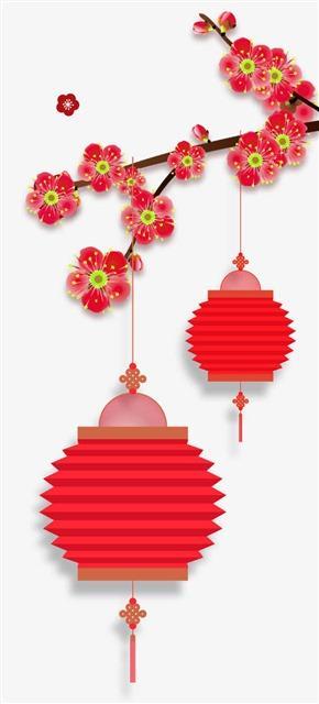 中国风灯笼梅装饰图片