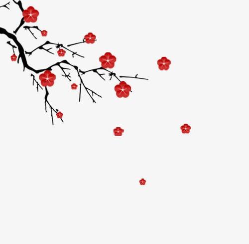 水墨腊梅节日元素