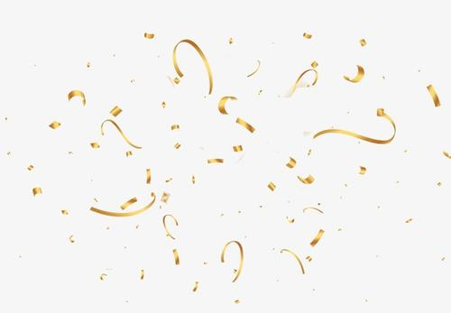 卡通金色漂浮丝带