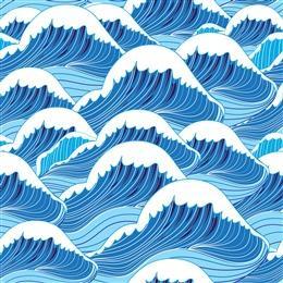 国潮水浪海浪背景