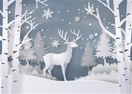 麋鹿雪景剪纸背景图
