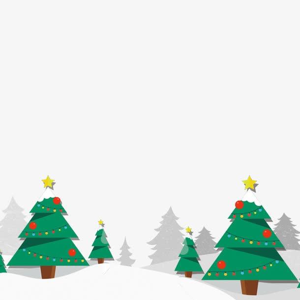 雪地里的圣诞树图片