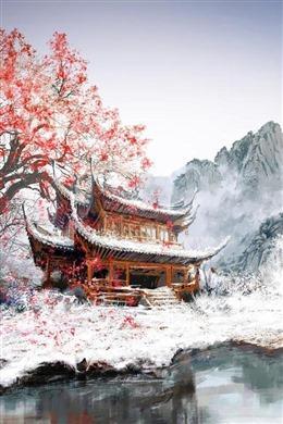 古风山水雪景背景