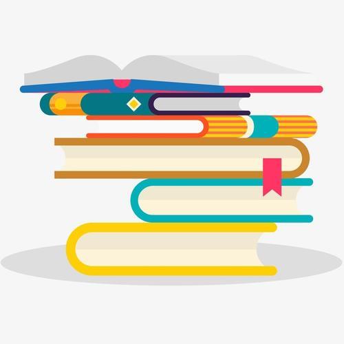 彩色手绘书本课本插画