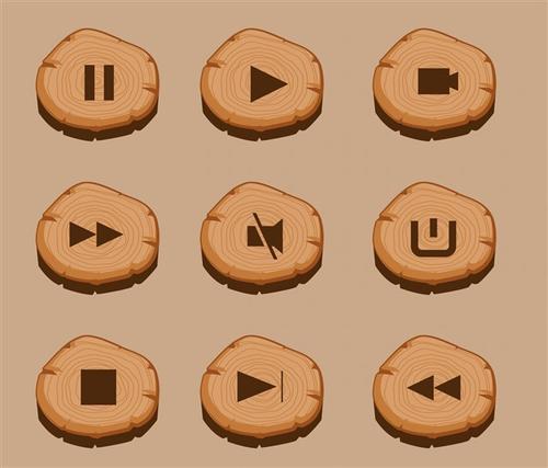木质UI音频按钮图标