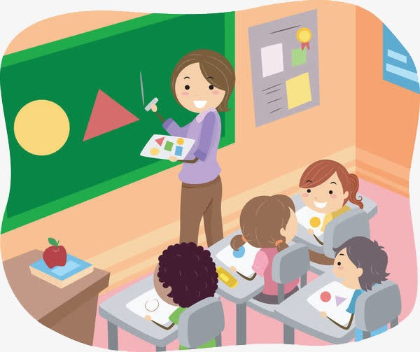 老师给学生上课场景卡通人物插画