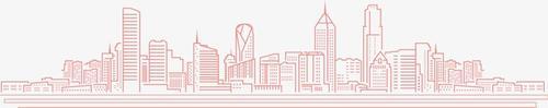 粉色手绘城市建筑矢量图