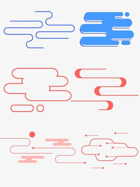 手绘抽象云纹线条