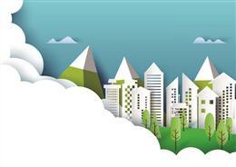 云层城市剪纸背景图