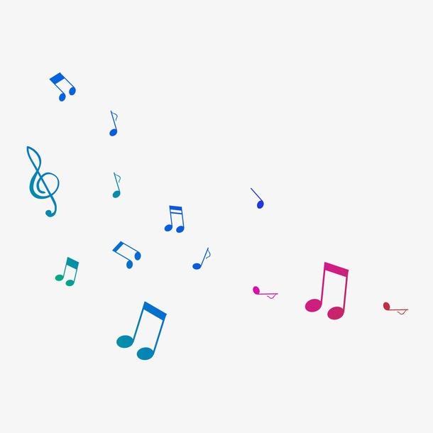 彩色音符漂浮元素