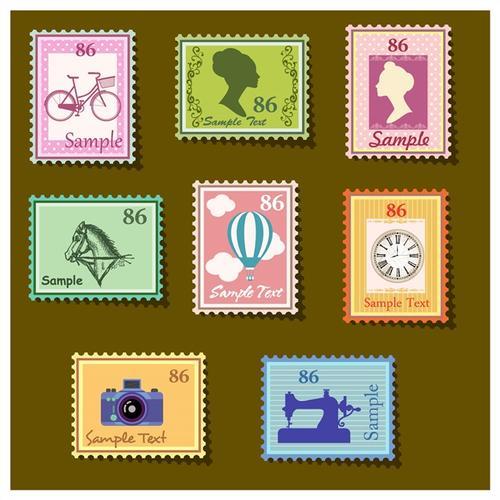 各种各样的邮票