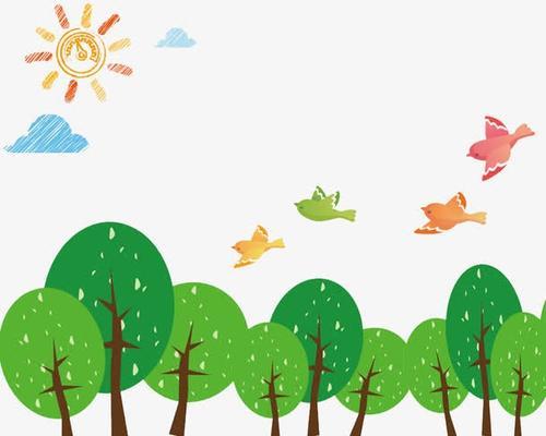 森林小鸟儿童绘画图片