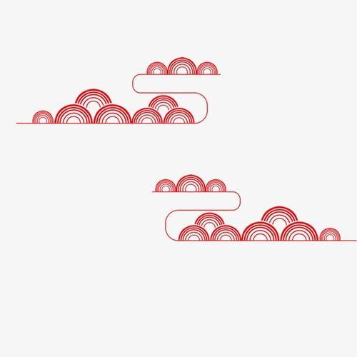 中国风红色半圆线条图片
