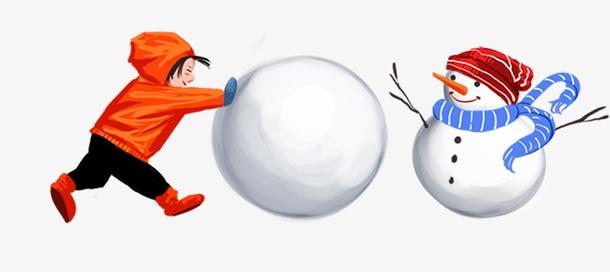 小孩滚雪球堆雪人手绘插画