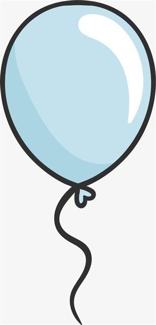 简单手绘蓝色气球