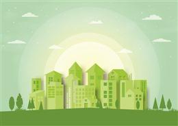 阳光城市剪影背景图