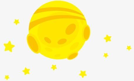 黄色矢量卡通星球