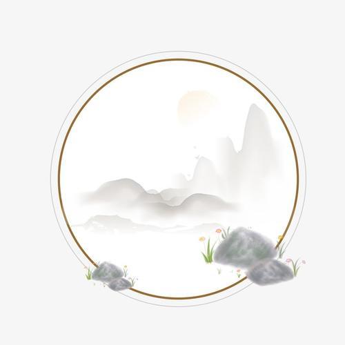 圆形手绘山水画图片