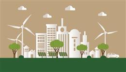 风力环保城市背景图