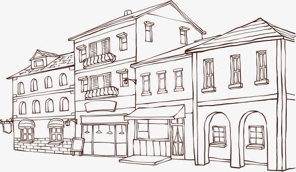 线描都市建筑大楼