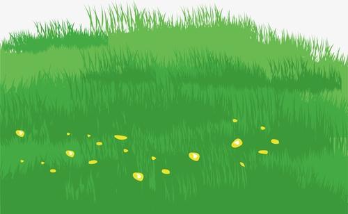 手绘一片草地插画图片