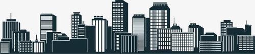 黑色手绘城市楼房剪影