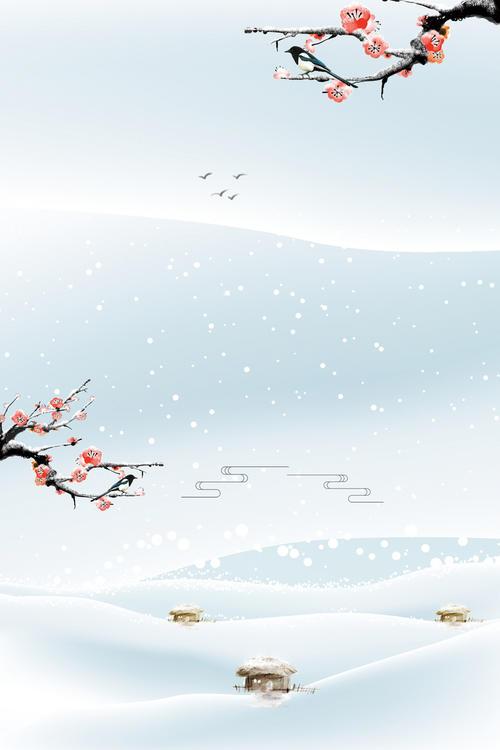 冬日腊梅雪花背景