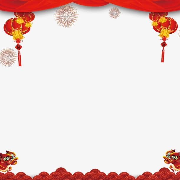 红色幕布新年边框