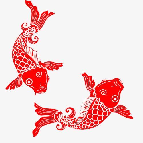 红色锦鲤剪纸