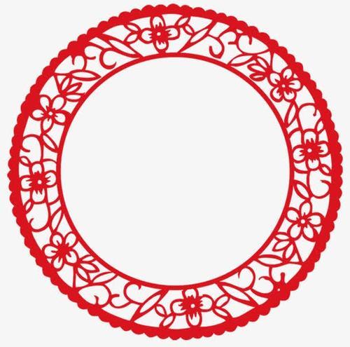 红色圆形镂空剪纸