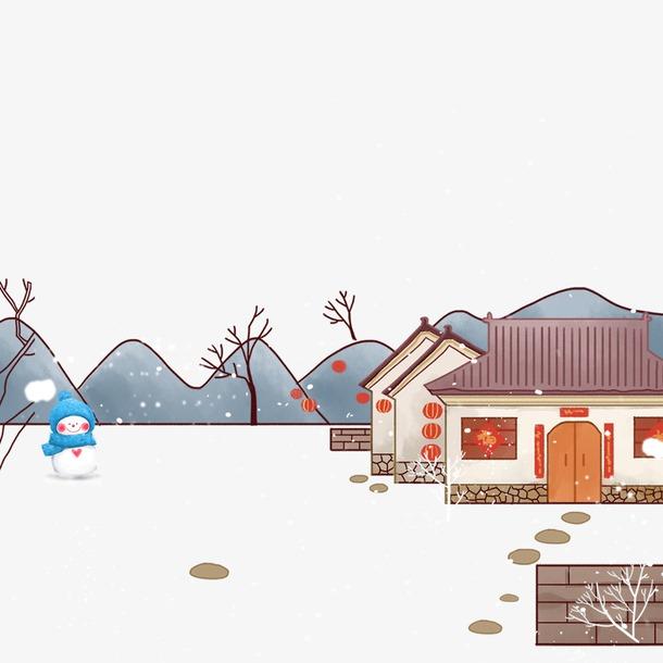 冬季房屋雪人元素图
