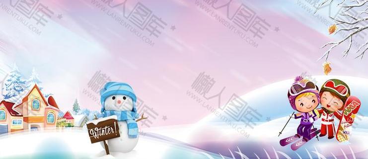 冬季滑雪卡通童趣背景