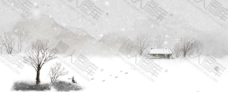 大寒冬季雪花灰色背景