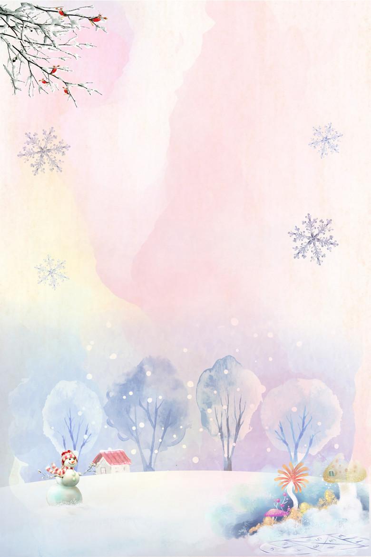 冬季雪景水彩画