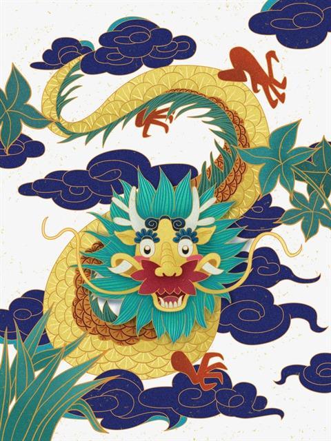 手绘国潮中国龙纹理