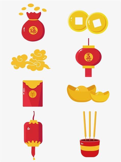春节喜庆发财元素图标