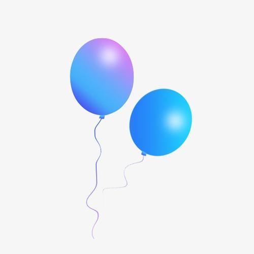 渐变气球漂浮