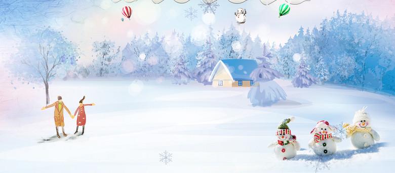 卡通手绘雪景banner