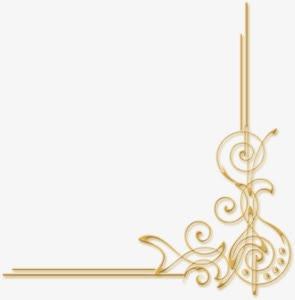 金色音符花纹边角装饰