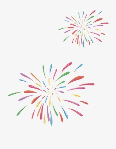 彩色手绘烟花装饰