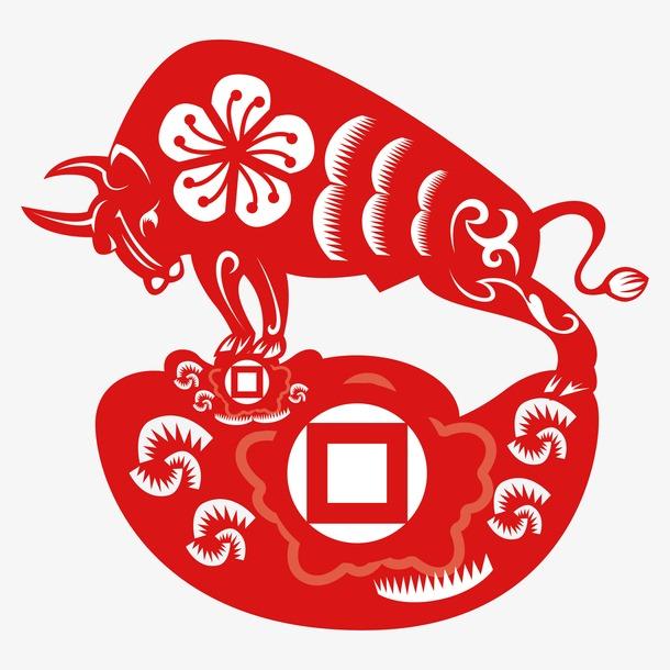 红色牛年新年剪纸