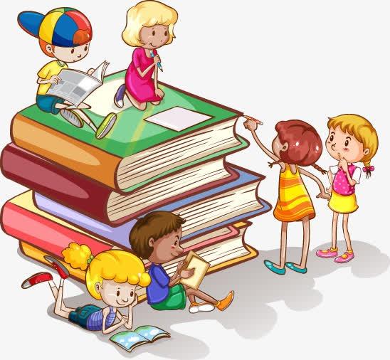 小孩看书卡通图片