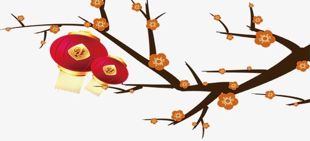 梅花枝上挂灯笼