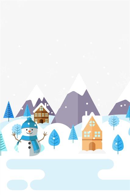冬季雪屋雪景手绘插画
