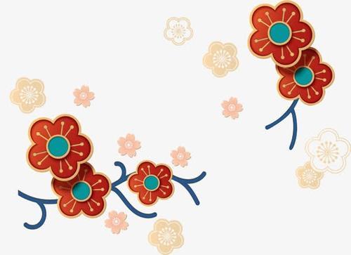 新年春节凹雕花纹
