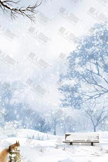 小寒时节雪景背景图