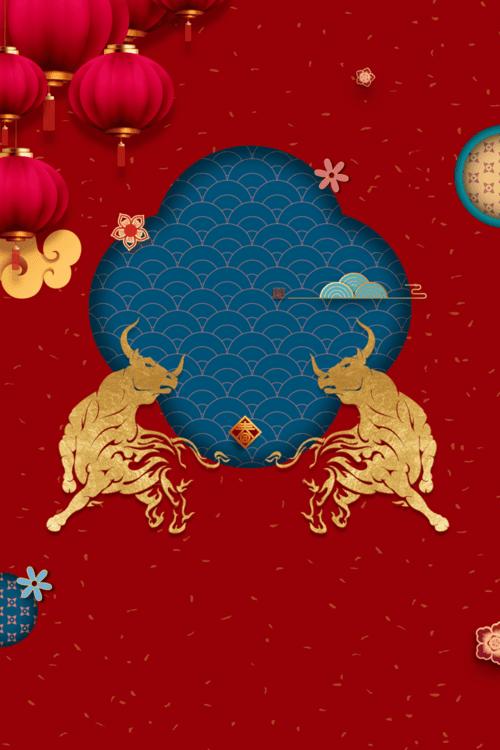 2021牛年新春红色背景图