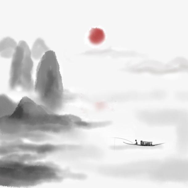 中国风远山红日水墨画