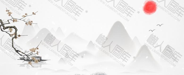 文艺梅花中国风水墨banner